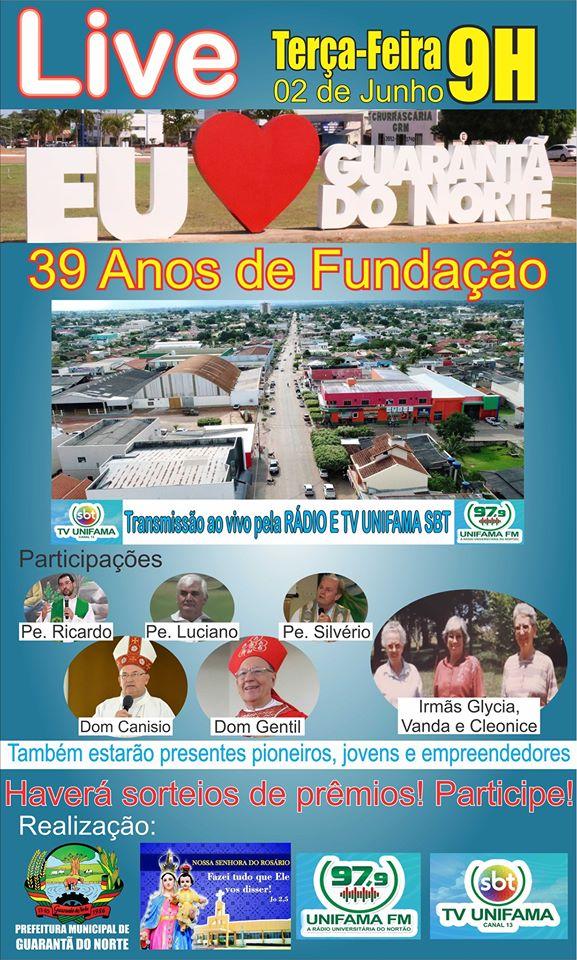 Live Eu amo Guarantã será realizada dia 02 de junho, aniversário do município