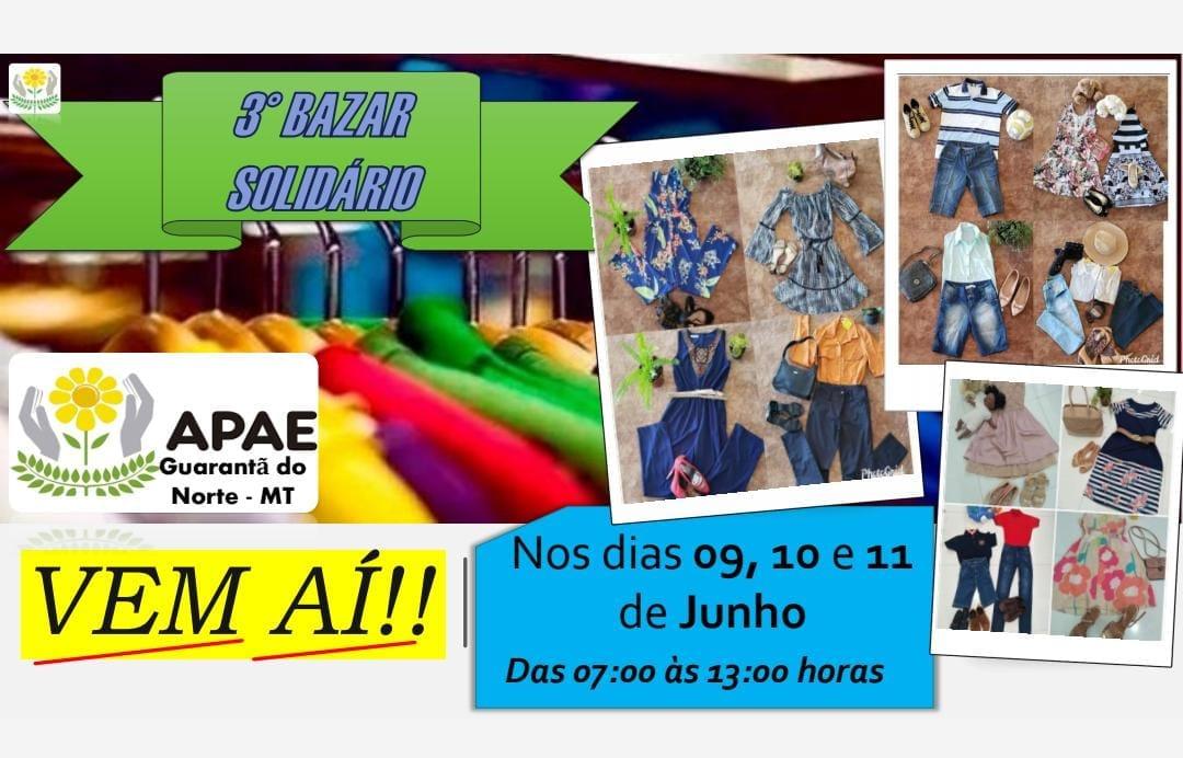 APAE irá realizar 3º edição do Bazar Solidário em Guarantã do Norte